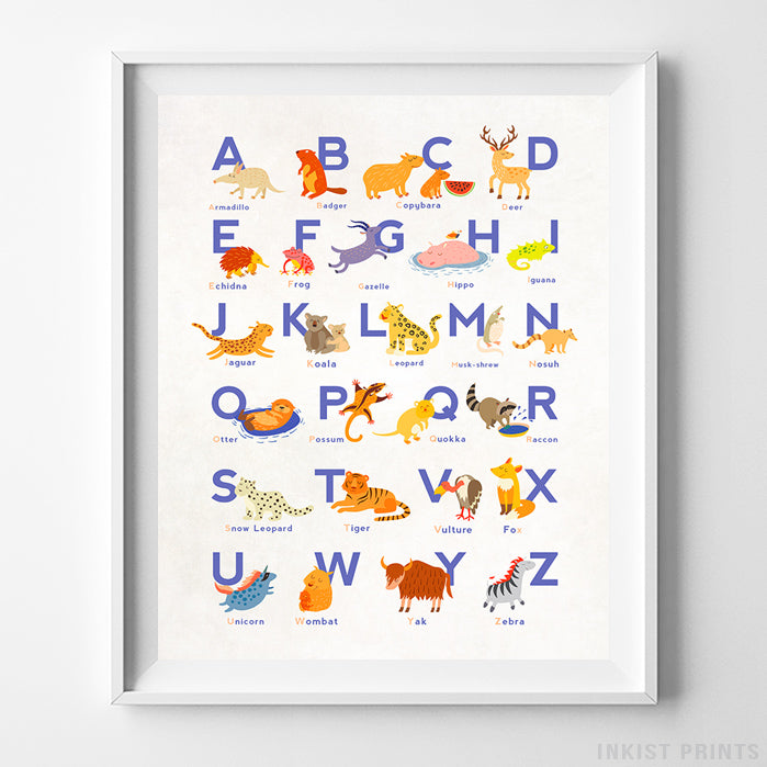 Animal Alphabet Type 2 Print-Poster-Wall_Art-Home_Decor-Inkist_Prints