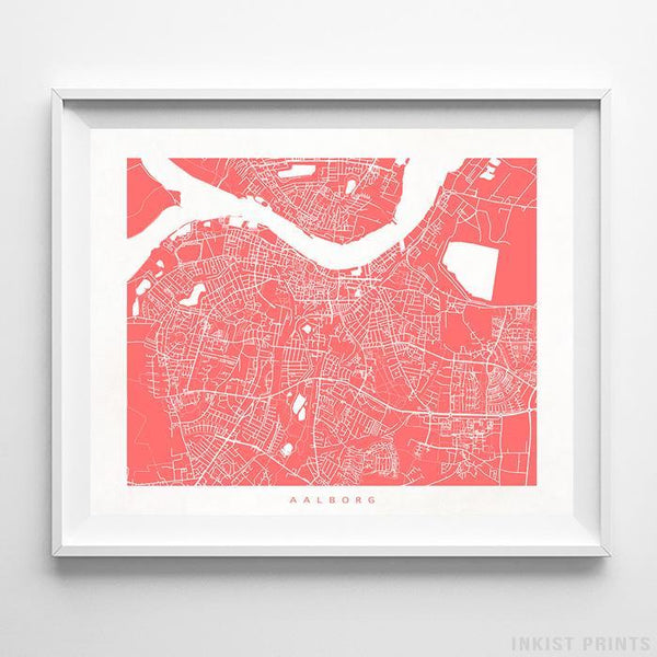 Aalborg, Denmark Street Map Horizontal Print-Poster-Wall_Art-Home_Decor-Inkist_Prints