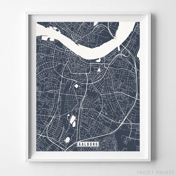 Aalborg, Denmark Street Map Vertical Print-Poster-Wall_Art-Home_Decor-Inkist_Prints