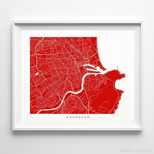 Aberdeen, Scotland Street Map Horizontal Print-Poster-Wall_Art-Home_Decor-Inkist_Prints