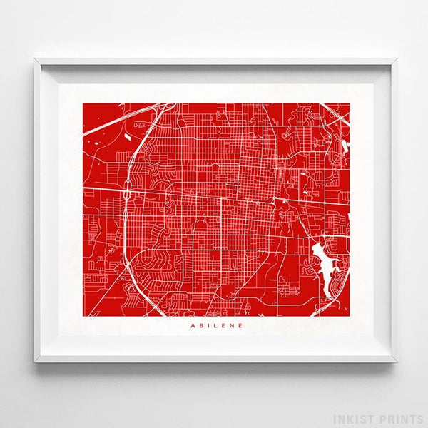 Abilene, Texas Street Map Horizontal Print-Poster-Wall_Art-Home_Decor-Inkist_Prints