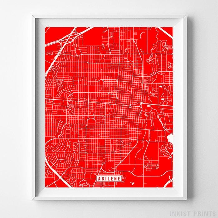 Abilene, Texas Street Map Vertical Print-Poster-Wall_Art-Home_Decor-Inkist_Prints