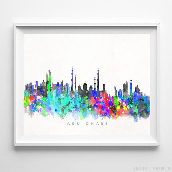 Abu Dhabi, United Arab Emirates Skyline Watercolor Print Wall Art Poster by Inkist Prints
