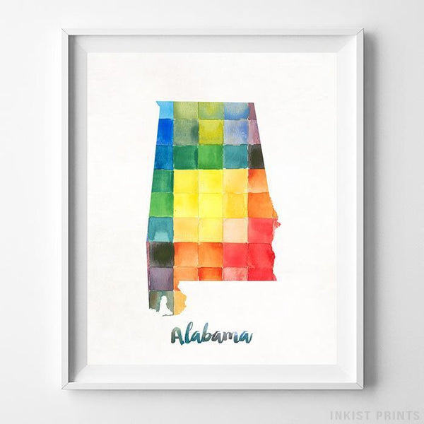 Alabama Watercolor Map Print Wall Art Poster by Inkist Prints