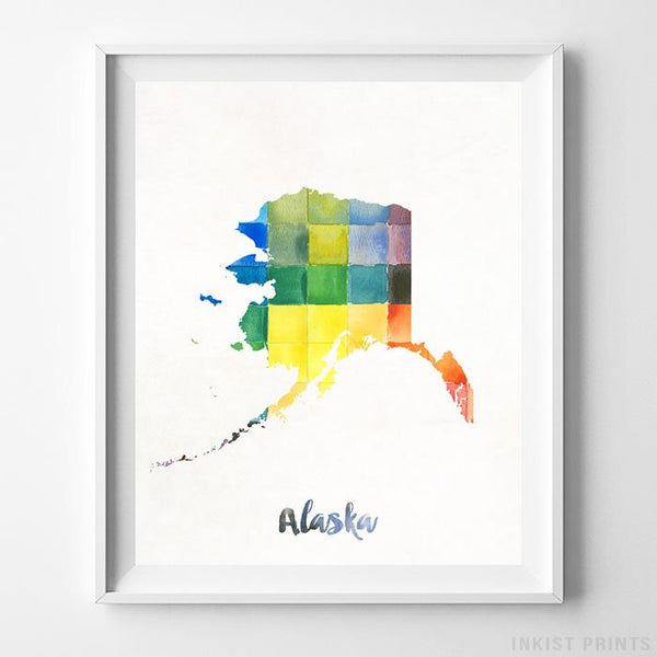 Alaska Watercolor Map Print Wall Art Poster by Inkist Prints