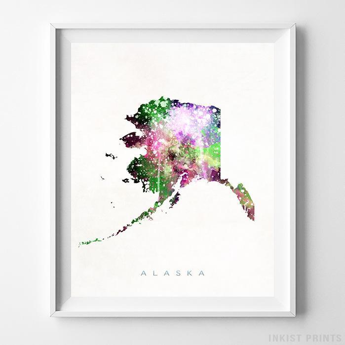 Alaska Watercolor Map Print-Poster-Wall_Art-Home_Decor-Inkist_Prints