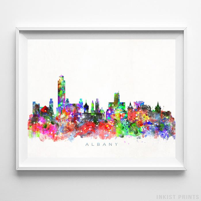 Albany, New York Skyline Watercolor Print-Poster-Wall_Art-Home_Decor-Inkist_Prints