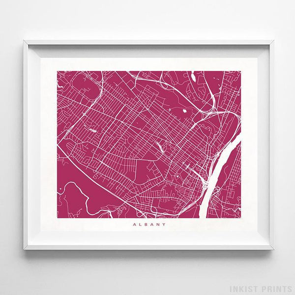 Albany, New York Street Map Horizontal Print-Poster-Wall_Art-Home_Decor-Inkist_Prints