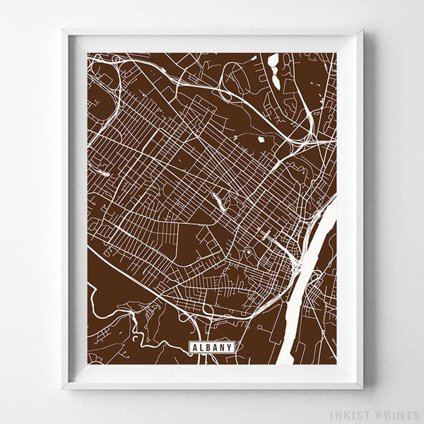 Albany, New York Street Map Vertical Print-Poster-Wall_Art-Home_Decor-Inkist_Prints