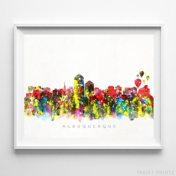 Albuquerque, New Mexico Skyline Watercolor Print - Inkist Prints