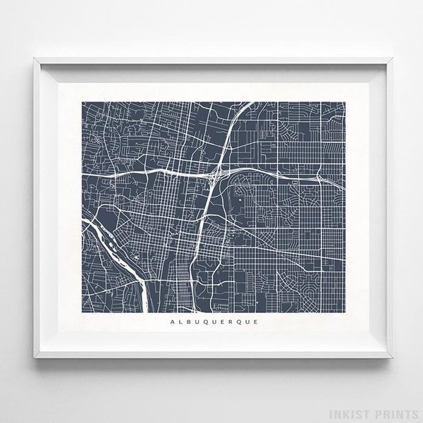 Albuquerque, New Mexico Street Map Horizontal Print-Poster-Wall_Art-Home_Decor-Inkist_Prints