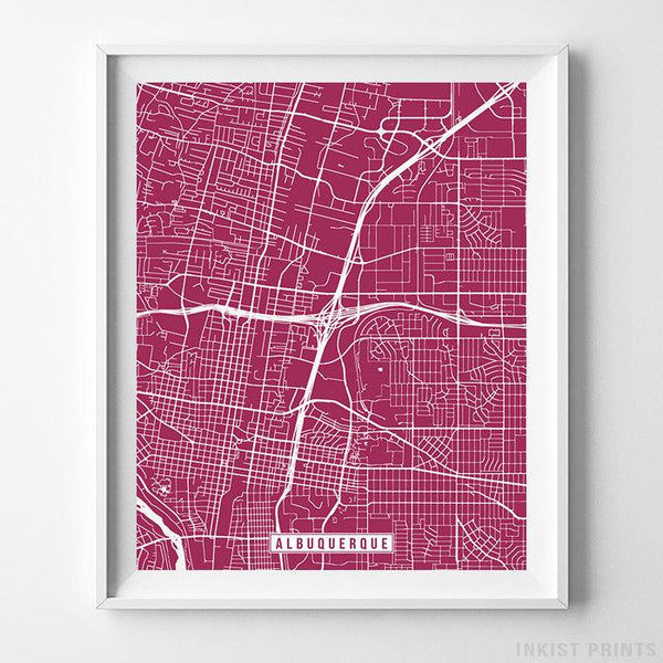 Albuquerque, New Mexico Street Map Vertical Print-Poster-Wall_Art-Home_Decor-Inkist_Prints