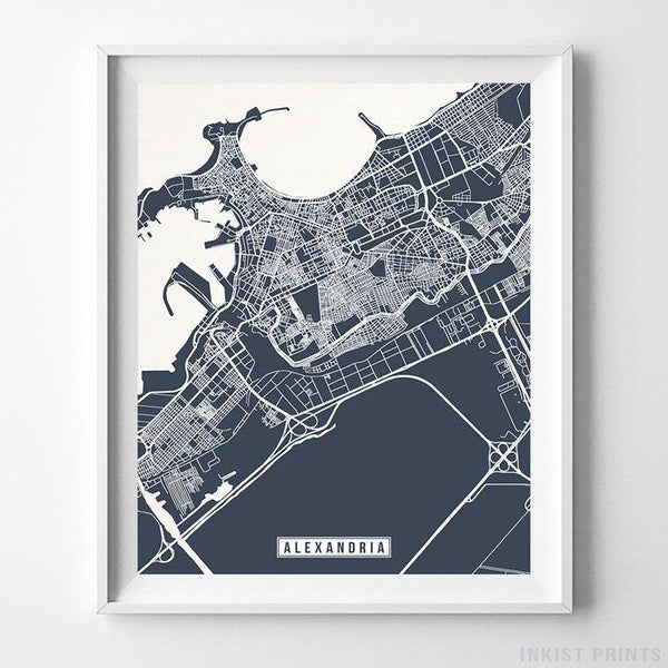 Alexandria, Egypt Street Map Vertical Print-Poster-Wall_Art-Home_Decor-Inkist_Prints