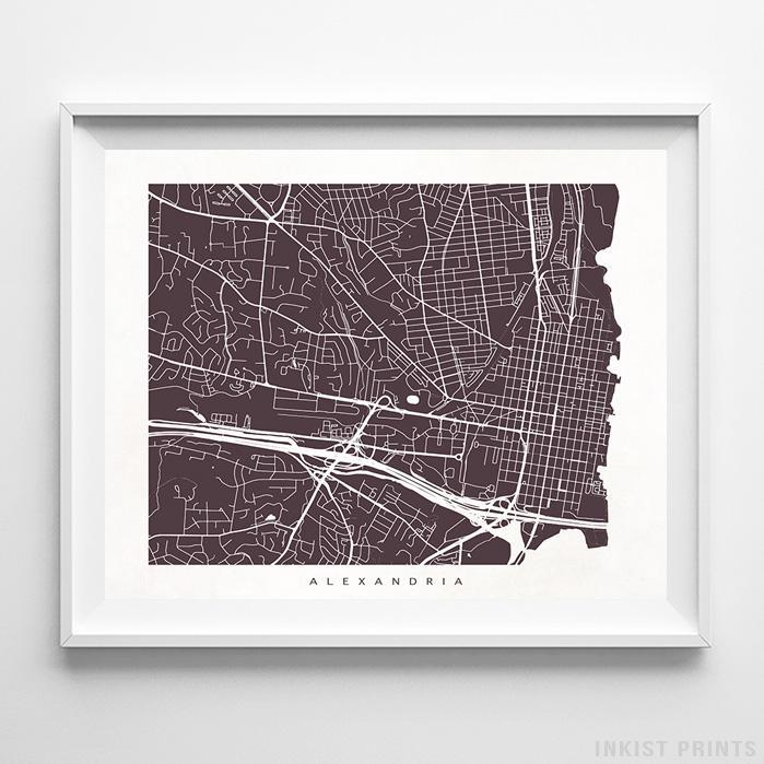 Alexandria, Virginia Street Map Horizontal Print-Poster-Wall_Art-Home_Decor-Inkist_Prints