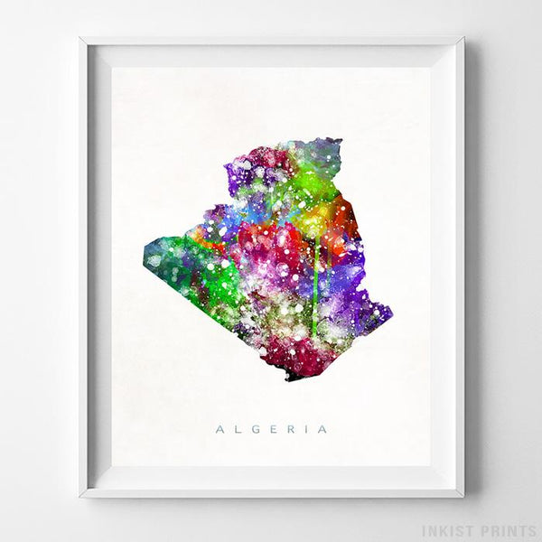 Algeria Watercolor Map Print Wall Art Poster by Inkist Prints