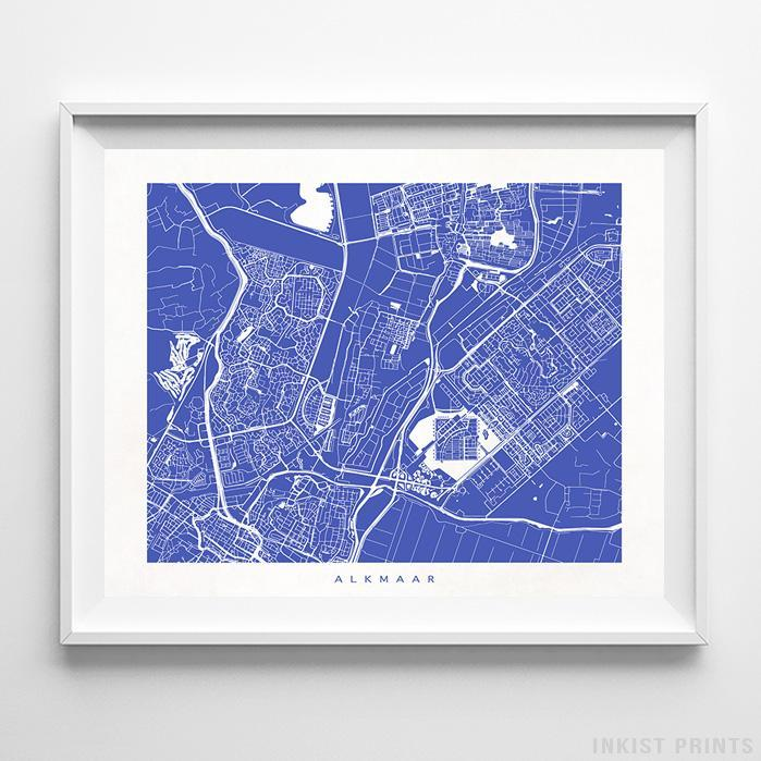 Alkmaar, The Netherlands Street Map Horizontal Print-Poster-Wall_Art-Home_Decor-Inkist_Prints