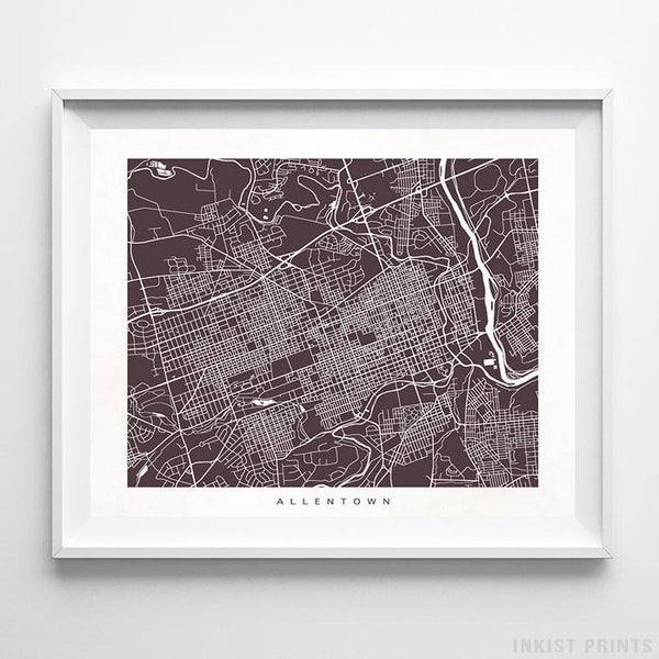 Allentown, Pennsylvania Street Map Horizontal Print-Poster-Wall_Art-Home_Decor-Inkist_Prints