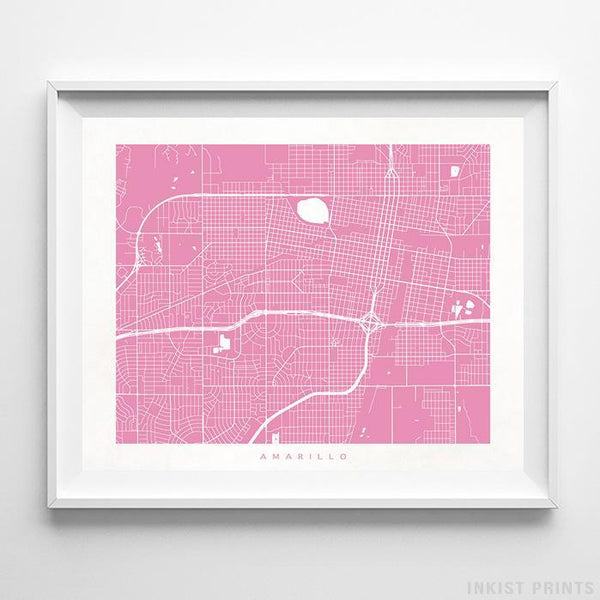 Amarillo, Texas Street Map Horizontal Print-Poster-Wall_Art-Home_Decor-Inkist_Prints