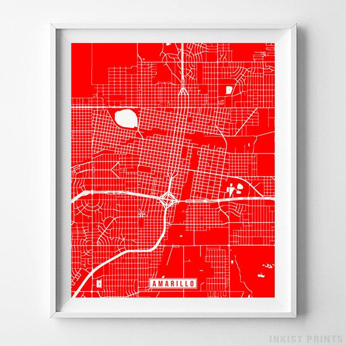 Amarillo, Texas Street Map Vertical Print-Poster-Wall_Art-Home_Decor-Inkist_Prints