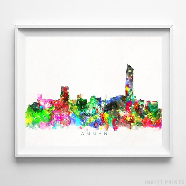Amman, Jordan Skyline Watercolor Print Wall Art Poster by Inkist Prints