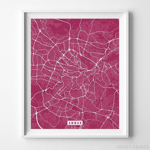 Amman, Jordan Street Map Vertical Print-Poster-Wall_Art-Home_Decor-Inkist_Prints