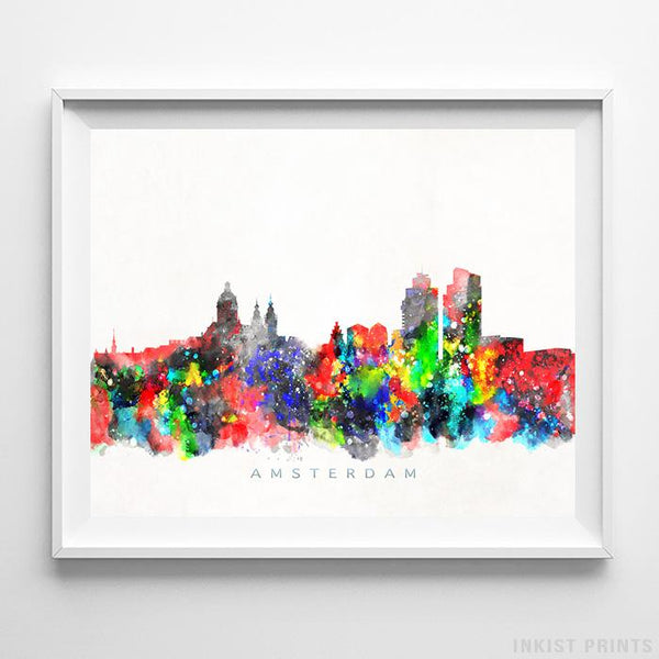 Amsterdam, Netherlands Skyline Watercolor Print - Inkist Prints