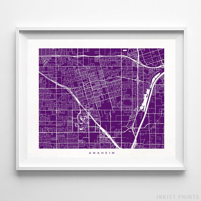 Anaheim, California Street Map Horizontal Print-Poster-Wall_Art-Home_Decor-Inkist_Prints