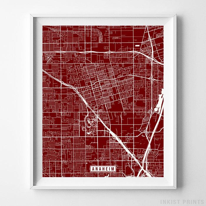 Anaheim, California Street Map Vertical Print-Poster-Wall_Art-Home_Decor-Inkist_Prints