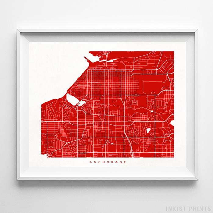 Anchorage, Alaska Street Map Horizontal Print-Poster-Wall_Art-Home_Decor-Inkist_Prints
