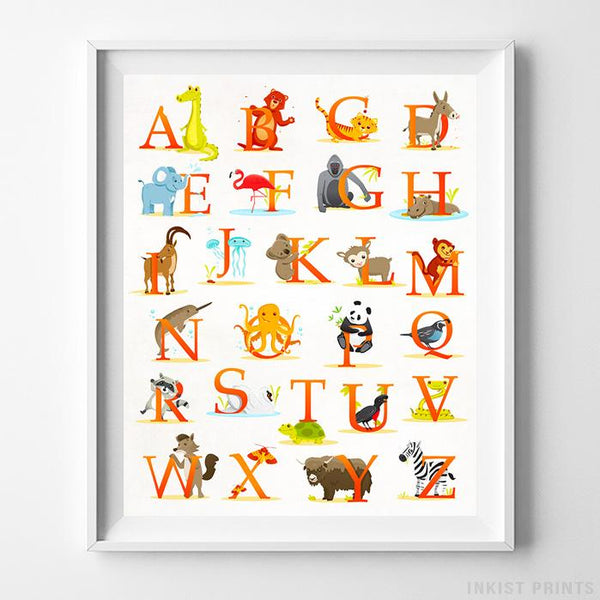 Animal Alphabet Print Wall Art Poster by Inkist Prints