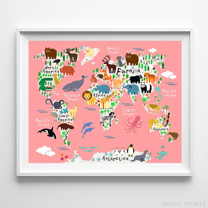 Animal World Map Coral Background Print-Poster-Wall_Art-Home_Decor-Inkist_Prints
