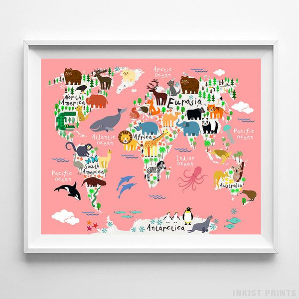 Animal World Map Coral Background Print - Inkist Prints