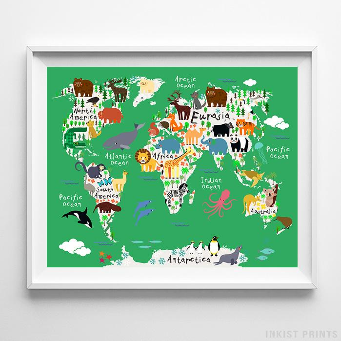 Animal world map green background print nursery print inkist prints animal world map green background print wall art poster by inkist prints gumiabroncs Choice Image