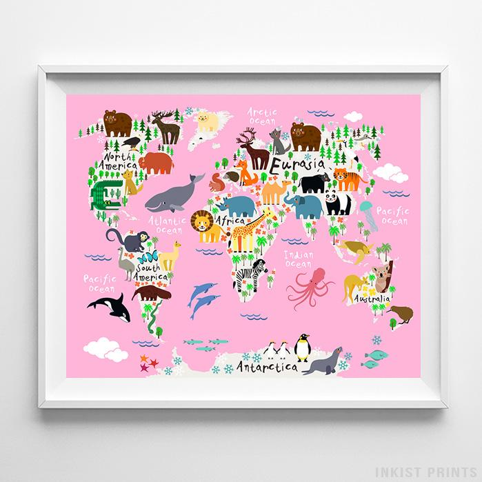 Animal World Map Pink Background Print Nursery Print Inkist Prints - Pink world map poster