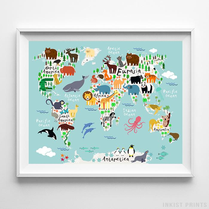 Animal world map teal background print nursery print inkist prints animal world map teal background print wall art poster by inkist prints gumiabroncs Choice Image