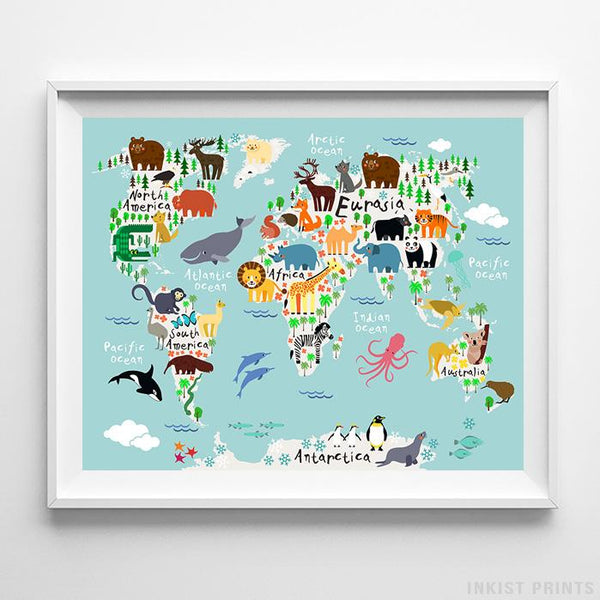 Animal World Map Teal Background Print Wall Art Poster by Inkist Prints