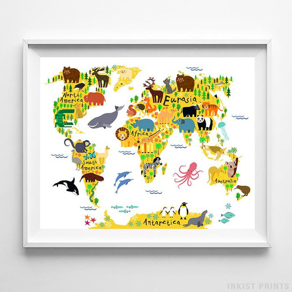Animal World Map White Background Print Wall Art Poster by Inkist Prints