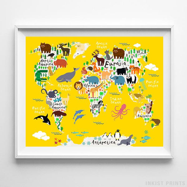 Animal World Map Yellow Background Print-Poster-Wall_Art-Home_Decor-Inkist_Prints