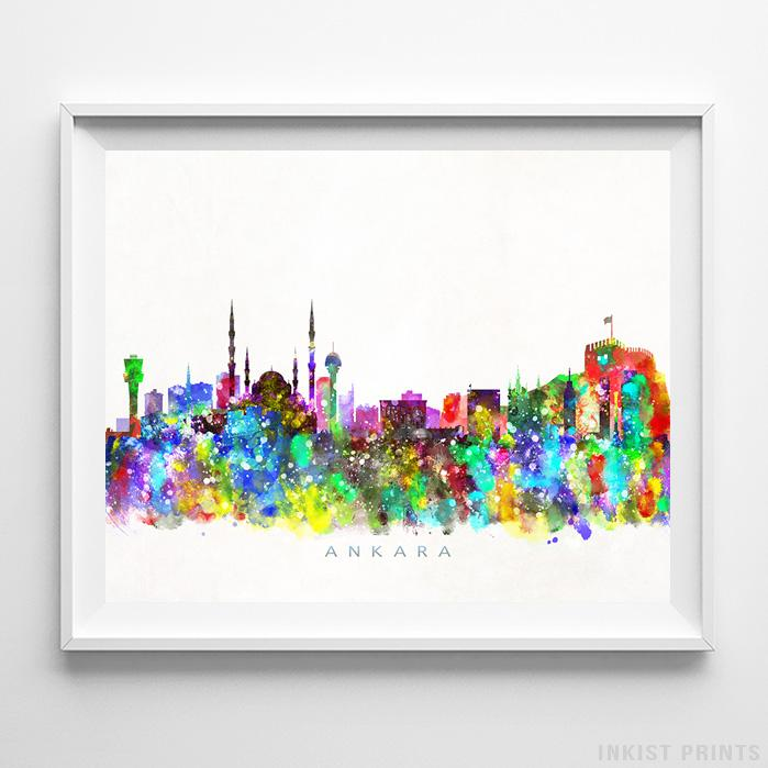 Ankara, Turkey Skyline Watercolor Print-Poster-Wall_Art-Home_Decor-Inkist_Prints