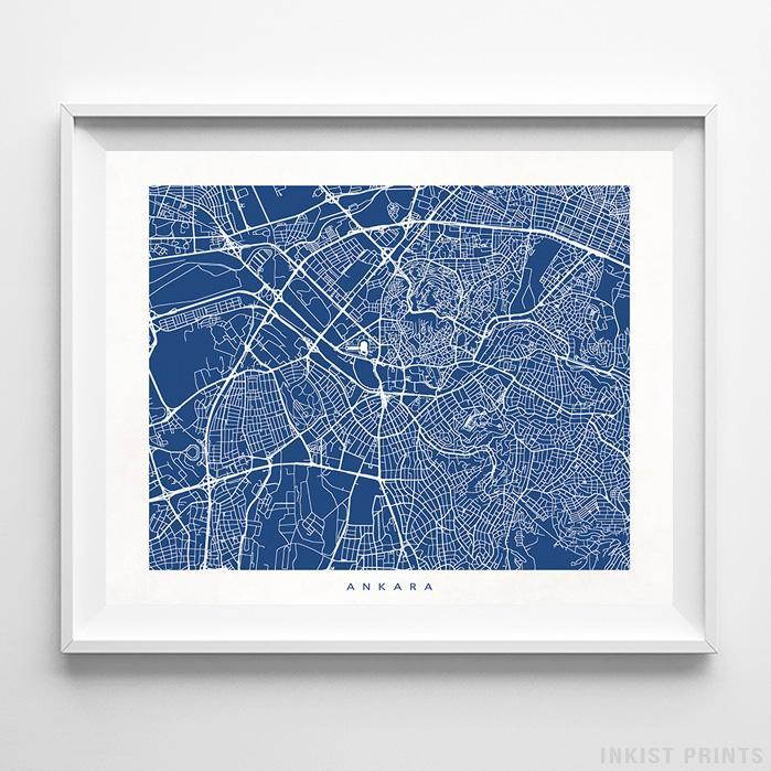 Ankara, Turkey Street Map Print - Inkist Prints