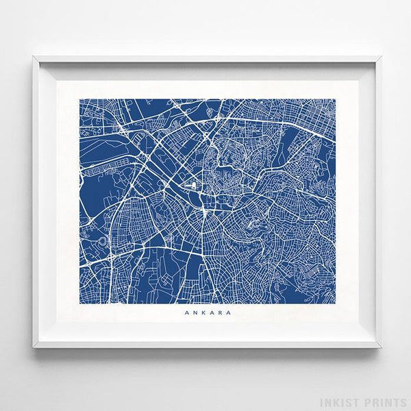 Ankara, Turkey Street Map Print Poster - Inkist Prints