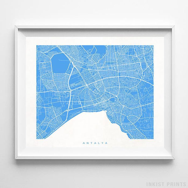 Antalya, Turkey Street Map Horizontal Print-Poster-Wall_Art-Home_Decor-Inkist_Prints