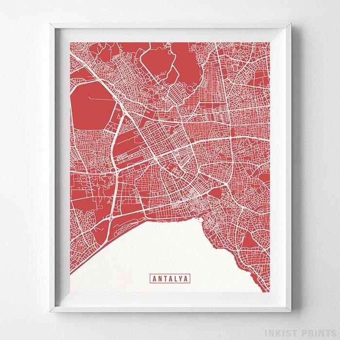 Antalya, Turkey Street Map Vertical Print-Poster-Wall_Art-Home_Decor-Inkist_Prints