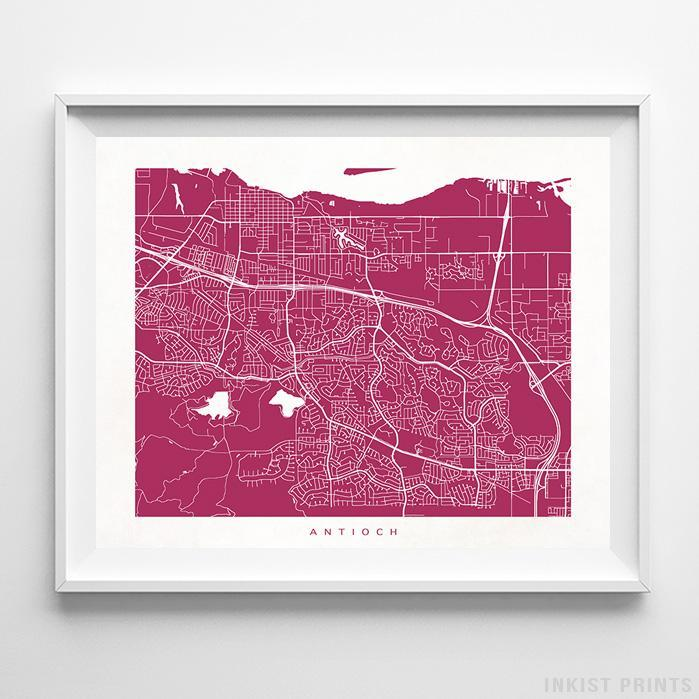 Antioch, California Street Map Horizontal Print-Poster-Wall_Art-Home_Decor-Inkist_Prints