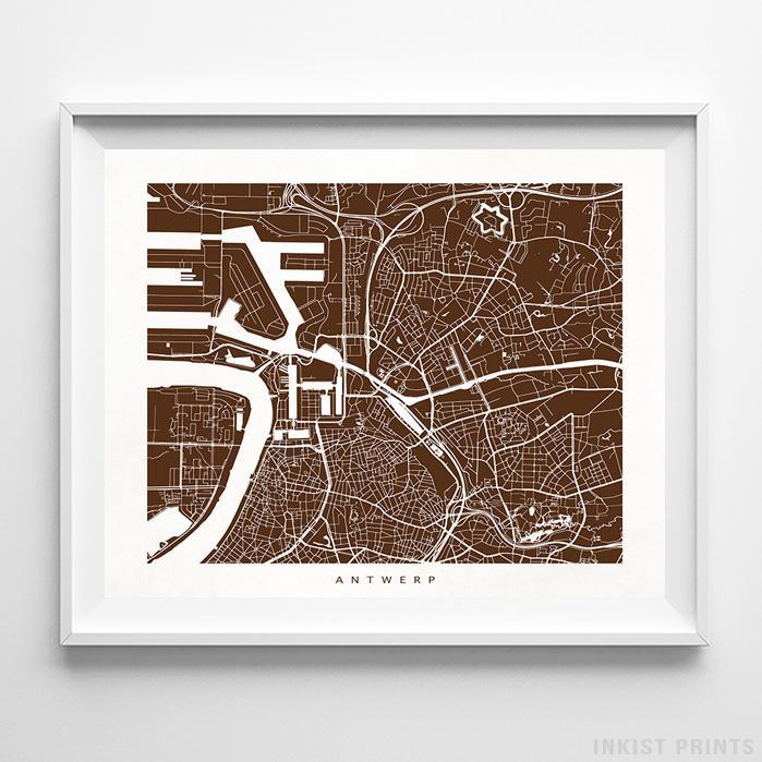 Antwerp, Belgium Street Map Horizontal Print-Poster-Wall_Art-Home_Decor-Inkist_Prints
