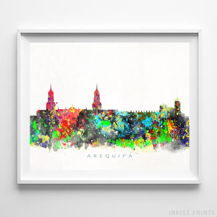Arequipa, Peru Skyline Watercolor Print - Inkist Prints