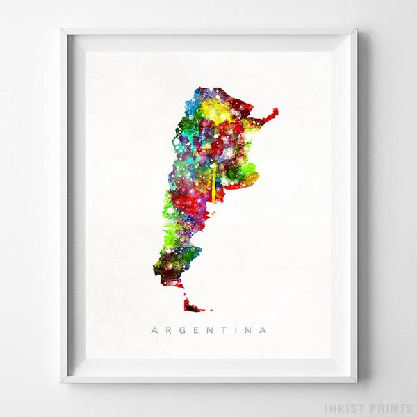 Argentina Watercolor Map Print - Inkist Prints