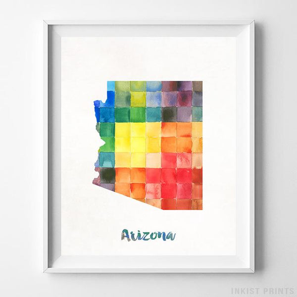 Arizona Watercolor Map Print Wall Art Poster by Inkist Prints