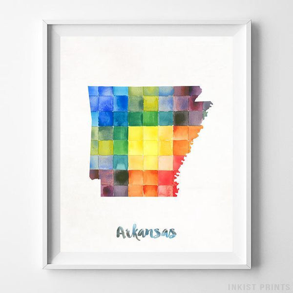 Arkansas Watercolor Map Print - Inkist Prints