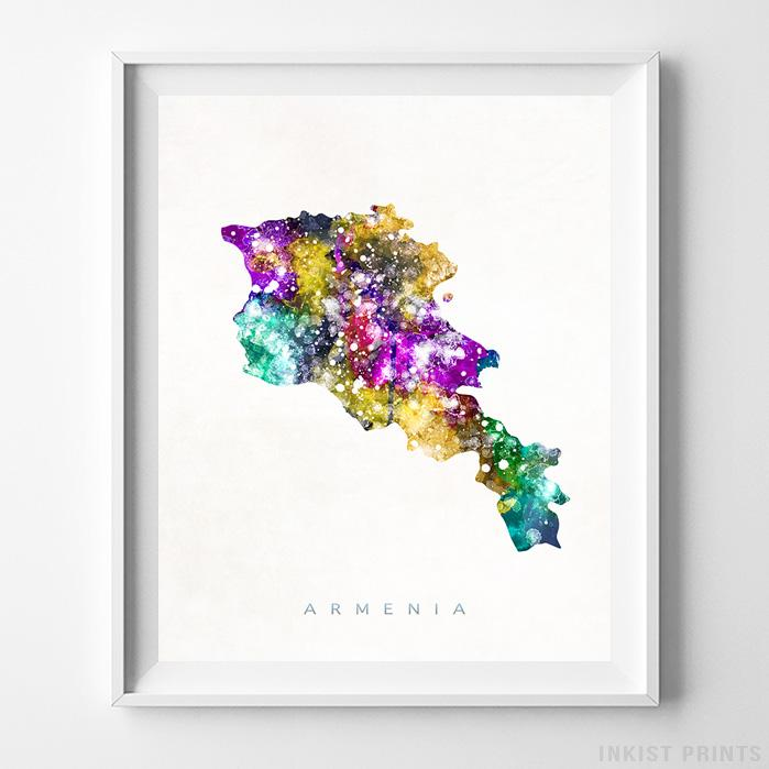 Armenia Watercolor Map Print-Poster-Wall_Art-Home_Decor-Inkist_Prints